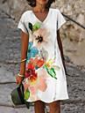 Női A vonalú ruha Térdig érő ruha Fehér Rövid ujjú Virágos Nyomtatott Nyár V-alakú Alkalmi Szabadság 2021 S M L XL XXL 3XL
