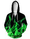 Herre Hættetrøje med lynlås med lynlås Dyr 3D Hætte Afslappet Daglig 3D-udskrivning Afslappet Hættetrøjer Sweatshirts Langærmet Løstsiddende Grøn