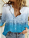 Γυναικεία 3D Μπλούζα Πουκάμισο Τοπίο 3D Μακρυμάνικο Κουμπί Στάμπα Κολάρο Πουκαμίσου Βασικό Άριστος Θαλασσί