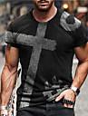 Men\'s Unisex Tee T shirt Shirt 3D Print Graphic Prints Cross Print Short Sleeve Daily Tops Casual Designer Big and Tall Wine Gray Black