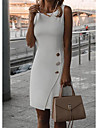 여성용 시스 드레스 무릎 길이 드레스 옐로우 그레이 화이트 블랙 루비 민소매 한 색상 스플리트 가을 봄 라운드 넥 우아함 파티 2021 S M L XL XXL 3XL 4XL 5XL