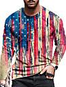 Pánské Unisex Trička Tričko Košile 3D tisk Proužky Grafické tisky Vlajka Tisk Dlouhý rukáv Denní Topy Na běžné nošení Designové Velký a vysoký Rubínově červená