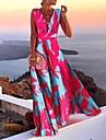 Γυναικεία Φόρεμα σε γραμμή Α Μακρύ φόρεμα Θαλασσί Ρουμπίνι Μπλε Απαλό Αμάνικο Φλοράλ Γεωμετρικό Στάμπα Φθινόπωρο Λαιμόκοψη V Καθημερινό 2021 Τ M L XL XXL