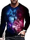 Hombre Unisexo Tee Camiseta Camisa Impresion 3D Estampados Lobo Estampado Manga Larga Diario Tops Casual De Diseno Grande y alto Negro