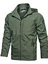 رجالي جاكيت مناسب للبس اليومي الشتاء عادية معطف عادي مكتشف الأمطار رياضي جاكتس كم طويل لون الصلبة منقش كاكي أخضر أسود