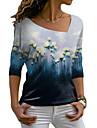 Dámské Květinový motiv Obraz Tričko Květinový Barevné bloky Dlouhý rukáv Tisk Do V Základní Topy Vodní modrá
