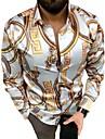 男性用 シャツ 3Dプリント グラフィック ボタンダウン 長袖 日常 トップの ヒップホップ ビーチスタイル イエロー