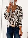 여성용 T 셔츠 레오파드 긴 소매 프린트 V 넥 시누아즈리 탑스 옐로우 블러슁 핑크 그레이