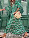 Γυναικεία Φόρεμα ριχτό από τη μέση και κάτω Μακρύ φόρεμα Πράσινο του τριφυλλιού Μακρυμάνικο Φλοράλ Στάμπα Καλοκαίρι Λαιμόκοψη V Καθημερινό 2021 Τ M L XL