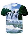 Homens Camiseta Camisa Social Impressao 3D 3D Taxas Com Transparencia Manga Curta Casual Blusas Verde / Verao