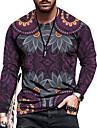 Herre T-Shirts T-shirt Skjorte 3D-udskrivning Grafisk Tribal Plusstørrelser Trykt mønster Langærmet Afslappet Toppe Basale Designer Slim Pasform Stor og høj Lilla Gul Regnbue