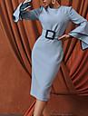 여성용 시스 드레스 미디 드레스 푸른 긴 소매 한 색상 주름장식 가을 라운드 넥 작업 / 오피스 우아함 캐쥬얼 2021 S M L XL XXL 3XL