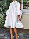여성용 A 라인 드레스 무릎 길이 드레스 퍼플 옐로우 화이트 3/4 길이 소매 한 색상 주름장식 봄 여름 스탠드 우아함 캐쥬얼 2021 S M L XL XXL XXXL