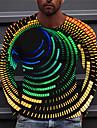 Férfi Uniszex Pólók Póló Ing 3D nyomtatás Grafikai nyomatok Spirál-csíkos Nyomtatott Hosszú ujj Napi Normál Felsők Alkalmi Dizájn Nagy és magas Medence Bíbor Sárga