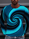 Męskie Dla obu płci Koszulki Podkoszulek Koszula Druk 3D Wzory graficzne Pasek w spiralę Nadruk Długi rękaw Codzienny Najfatalniejszy Codzienny Designerskie Duży i wysoki Niebieski