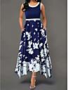 여성용 스윙 드레스 맥시 드레스 푸른 클로버 루비 민소매 꽃장식 프린트 봄 여름 U 넥 우아함 캐쥬얼 2021 S M L XL 2XL 3XL 4XL 5XL
