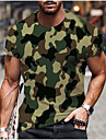 Men\'s Tee T shirt Shirt 3D Print Plants Graphic Camo / Camouflage Plus Size Short Sleeve Casual Tops Basic Designer Big and Tall Blue Yellow Army Green