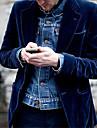 男性用 ブレザー ビジネス 日常 秋 春 レギュラー コート レギュラー 高通気性 カジュアル ジャケット 長袖 平織り パッチワーク ロイヤルブルー