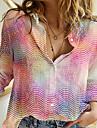 여성용 3D 블라우스 셔츠 도트무늬 그래픽 3D 긴 소매 단추 프린트 셔츠 카라 캐쥬얼 스트리트 쉬크 탑스 블러슁 핑크