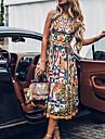 여성용 A 라인 드레스 미디 드레스 푸른 옐로우 클로버 민소매 플로럴 컬러 블럭 추상화 프린트 가을 여름 보트넥 캐쥬얼 빈티지 2021 S M L XL XXL 3XL