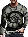 Per uomo Unisex Magliette maglietta Camicia Stampa 3D Stampe astratte Orologio Con stampe Manica lunga Quotidiano Top Casuale Originale Grande e alto Nero