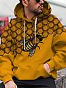 Herre Unisex Pullover-hættetrøje Grafiske tryk Bi Trykt mønster Hætte Daglig Sport 3D-udskrivning 3D-tryk Afslappet Hættetrøjer Sweatshirts Langærmet Gul