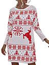 Dámské Svetrové šaty Krátké mini šaty Trávová zelená Rubínově červená Dlouhý rukáv Květinový Tisk Slátanina Podzim Zima Kulatý Na běžné nošení Vánoce 2021 S M L XL