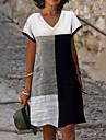 Női A vonalú ruha Térdig érő ruha Szürke Rövid ujjú Mértani Nyomtatott Nyár V-alakú Alkalmi Szabadság 2021 S M L XL XXL 3XL