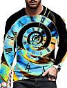 Homens Unisexo Camisetas Camiseta Camisa Social Impressao 3D Estampas Abstratas Relogio Estampado Manga Longa Diario Blusas Casual Designer Grande e Alto Azul