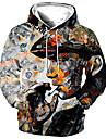 Férfi Uniszex Pulóver kapucnis pulóver Grafikai nyomatok Emberi Nyomtatott Kapucni Napi Sport 3D nyomtatás 3D mintás Alkalmi Pulcsik Pulóverek Hosszú ujj Szürke