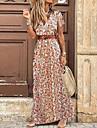 Γυναικεία Φόρεμα σε ευθεία γραμμή Μακρύ φόρεμα Ρουμπίνι Κοντομάνικο Φλοράλ Τσέπη Άνοιξη Καλοκαίρι Λαιμόκοψη V Καθημερινό 2021 Τ M L XL XXL