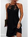 여성용 스트랩 드레스 미니 드레스 푸른 클로버 블랙 루비 민소매 한 색상 레이스 패치 워크 봄 여름 라운드 넥 캐쥬얼 섹시 2021 S M L XL XXL XXXL