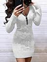 Dámské Svetrové šaty Krátké mini šaty Světlá růžová Fialová Šedá Trávová zelená Námořnická modř Bílá Světle šedá Černá Světle modrá Dlouhý rukáv Pevná barva Žakár Podzim Do V Na běžné nošení 2021 S M