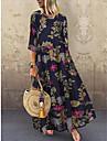 Női A vonalú ruha Maxi hosszú ruha Sárga Rubin Tengerészkék Rövid ujjú Virágos Nyomtatott Tavasz Nyár Kerek meleg Alkalmi Szabadság vakációs ruhák Bő 2021 M L XL XXL 3XL 4XL 5XL / Extra méret