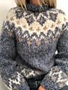 Γυναικεία Πουλόβερ Κλασσικό στυλ Πολύχρωμο Γεωμτερικό Etnic Καθημερινό Μακρυμάνικο Πουλόβερ ζακέτες Ζιβάγκο Φθινόπωρο Χειμώνας Μπλε γκρι Γκρίζο Πράσινο του τριφυλλιού / Αργίες