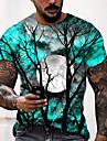 Hombre Unisexo Tee Camiseta Camisa Impresion 3D Estampados MOON Estampado Manga Corta Vispera de Todos los Santos Tops Casual De Diseno Grande y alto Azul Piscina Morado Gris / Verano