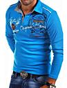 Per uomo Camicia da golf Golf Alfabetico Bottone giu Con stampe Manica lunga Strada Top Abbigliamento sportivo Casuale Di tendenza Comodo Blu Bianco Nero