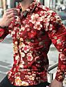 Ανδρικά Πουκάμισο Φλοράλ Γραφική Συνδυασμός Χρωμάτων Στάμπα Μακρυμάνικο Causal Άριστος Ελαφριά Κλασσικό Τροπικό Χαβανέζα Θαλασσί Ρουμπίνι