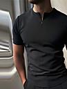 Bărbați Cămașă de golf Culoare solidă Fermoar Manșon scurt Stradă Topuri Casual Modă Respirabil Comfortabil Alb Negru