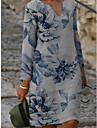 Női Váltó ruha Térdig érő ruha Szürke Hosszú ujj Virágos Kollázs Nyomtatott Ősz V-alakú Alkalmi vászon S M L XL XXL 3XL