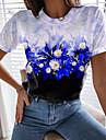 Dámské Květinový motiv Obraz Tričko Květinový Barevné bloky Tisk Kulatý Základní Topy Vodní modrá