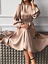 여성용 A 라인 드레스 미디 드레스 카키 클로버 루비 긴 소매 한 색상 레이스 -업 가을 라운드 넥 캐쥬얼 2021 S M L XL XXL