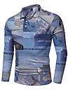 Homens Camisa de golfe Impressao 3D Estampa Colorida Impressao 3D Botao para baixo Manga Longa Rua Blusas Leve Casual Moda Confortavel Azul