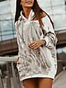 Γυναικεία Αθλητικά φορέματα Μίνι φόρεμα Γκρίζο Χακί Μπεζ Μακρυμάνικο Δετοβαμένο Στάμπα Φθινόπωρο Με Κουκούλα Καθημερινό 2021 Τ M L XL