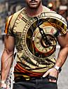 Hombre Unisexo Tee Camiseta Camisa Impresion 3D Estampados Reloj Estampado Manga Corta Diario Tops Casual De Diseno Grande y alto Amarillo Gris