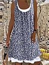 Dam A linjeklänning Knälång klänning Blå Vit Svart Brun Ljusblå Ärmlös Blommig Tryck Sommar Rund hals Ledigt 2021 S M L XL XXL 3XL 4XL 5XL