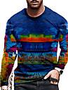 Men\'s Unisex Tee T shirt Shirt 3D Print Graphic Prints Graffiti Print Long Sleeve Daily Tops Casual Designer Big and Tall Blue