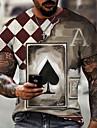Ανδρικά Κοντομάνικα Μπλουζάκι Πουκάμισο 3D εκτύπωση Γραφική Πόκερ Μεγάλα Μεγέθη Κοντομάνικο Causal Άριστος Βασικό Υψηλής Ποιότητας Στενή Εφαρμογή Μεγάλο και ψηλό Μαύρο / Άσπρο Κόκκινο / Άσπρο Θαλασσί