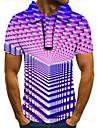 Pánské Golfová košile Tenisové tričko 3D tisk 3D tisk Geometrický Tlačítko dolů Krátký rukáv ulice Topy Na běžné nošení Módní Chladný Fialová / Sport