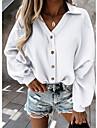 Dámské Halenka Košile Bez vzoru Dlouhý rukáv Košilový límec Základní Šik ven Topy Světlá růžová Trávová zelená Bílá